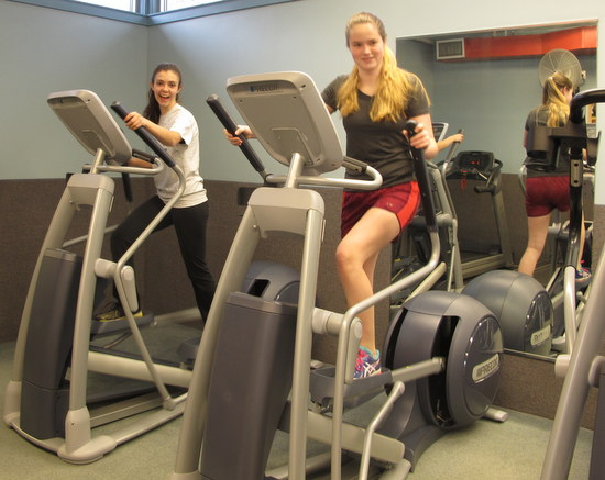 exercising in fitness room
