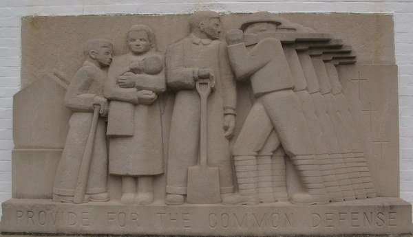 """Common Defense"" bas-relief by Lenore Thomas Straus. Greenbelt, MD"