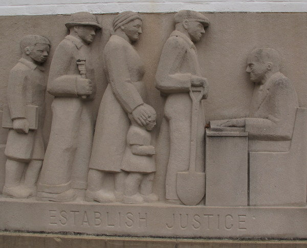 """Establish Justice"" bas-relief by Lenore Thomas Straus. Greenbelt MD"