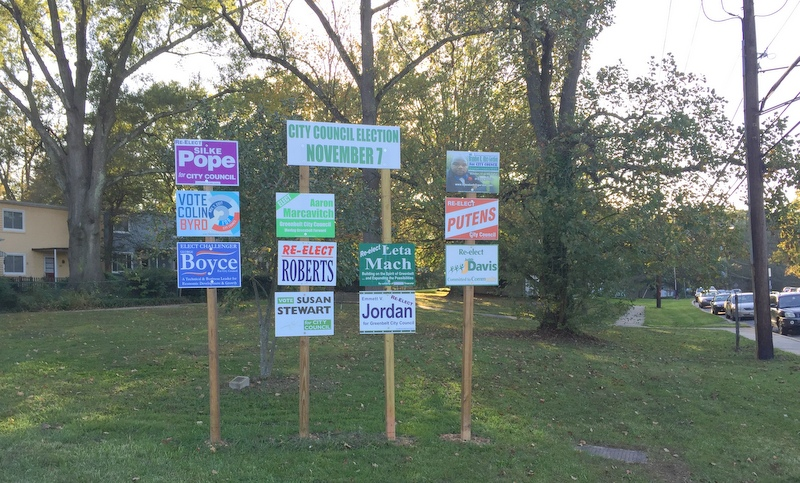 Signs for candidates for Greenbelt City Council