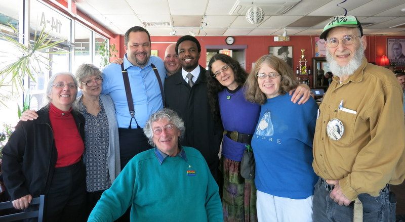 Ben Jealous, Colin Byrd and supporters at the New Deal Cafe in Greenbelt