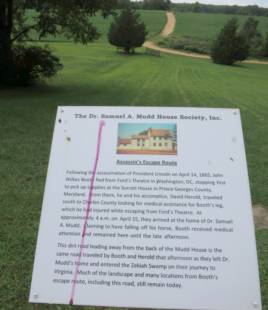 Sign at Dr. Mudd Home Museum
