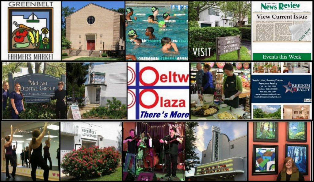 Collage of arts, businesses and organizations of Greenbelt Maryland