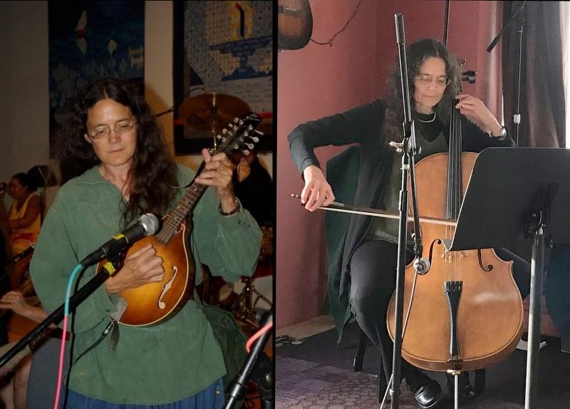 Diana McFadden plays mandolin and cello