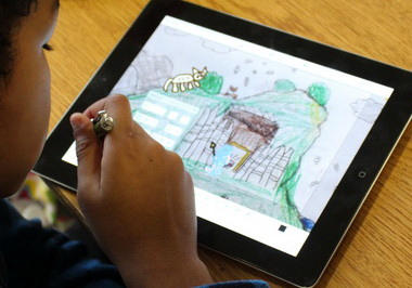 Student animates on a tablet