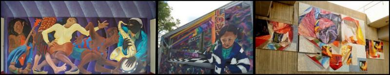 Three of Takoma's many murals
