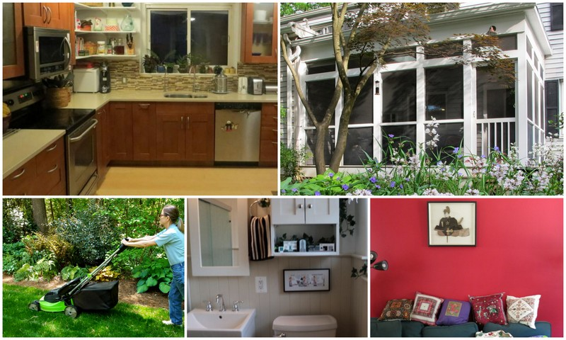 Collage of Greenbelt kitchen, bathroom, porch, paint color and lawn-mower.