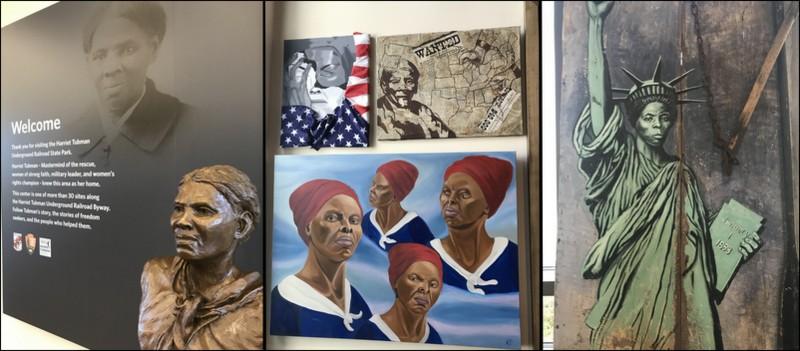 Exhibits in the Harriet Tubman Underground Railroad Park Visitor Center