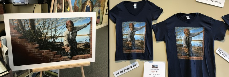 T-shirts and poster of Harriet Tubman Mural, at Tubman Museum