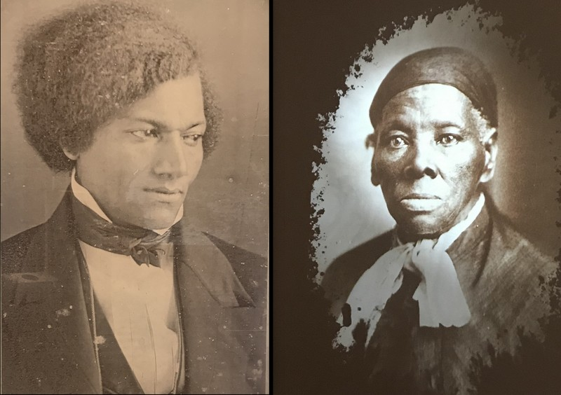 Portraits of Frederick Douglas and Tubman in the Harriet Tubman Underground Railroad Park Visitor Center