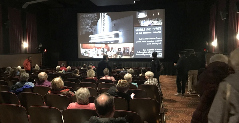 """Patrons arrive for the January """"Monday Matinee"""" at the Old Greenbelt Theatre."""