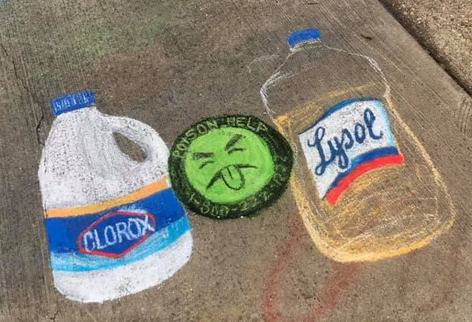 Chalk sidewalk art in Old Greenbelt - clorox and lysol