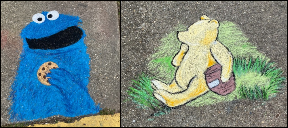 Chalk sidewalk art in Old Greenbelt. For kids.