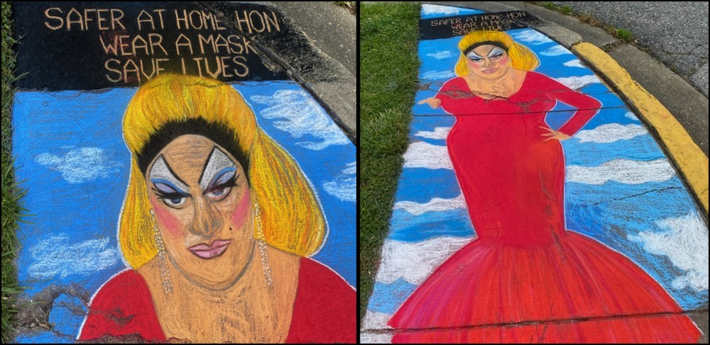 Chalk sidewalk art in Old Greenbelt. Divine
