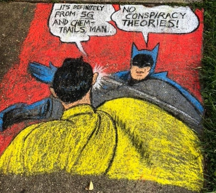 Chalk sidewalk art in Old Greenbelt - Batman