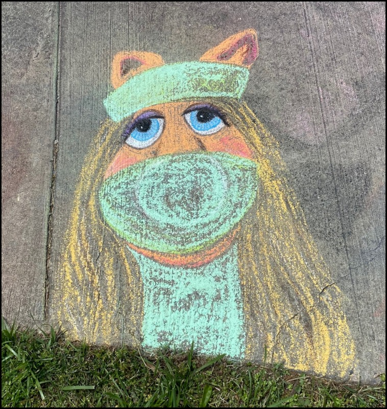 Sidewalk chalk art Old Greenbelt - Miss Piggy as Nurse for #nurses week