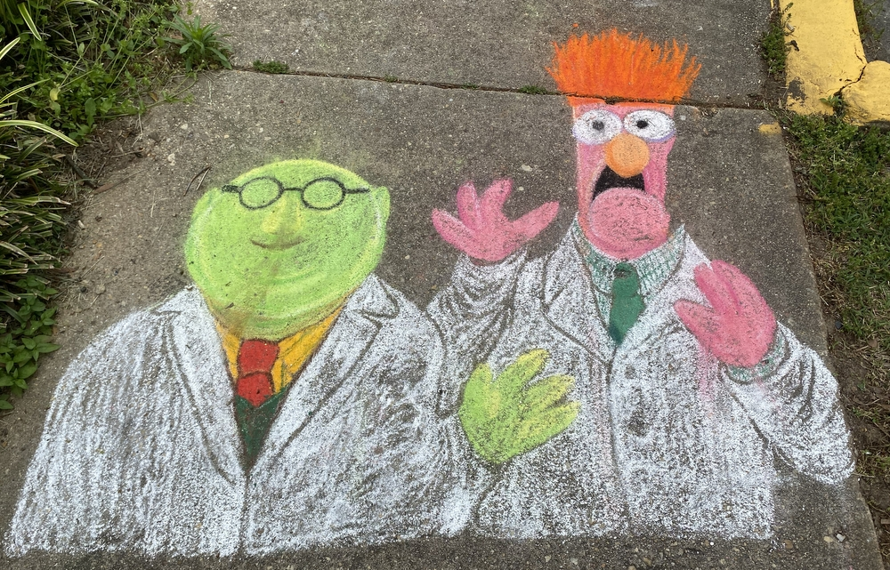 Bunsen Honeydew and Beaker chalk sidewalk art