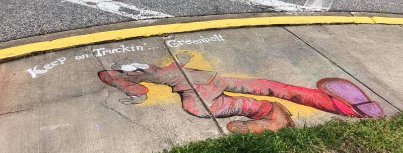 Chalk sidewalk art in Old Greenbelt