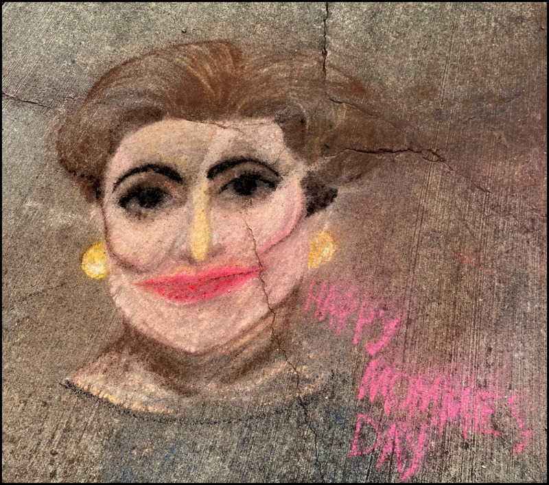 Sidewalk chalk art Old Greenbelt - Joan Crawford for Mother's Day