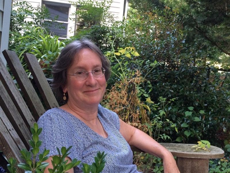 Melissa Mackey in her garden August 2020