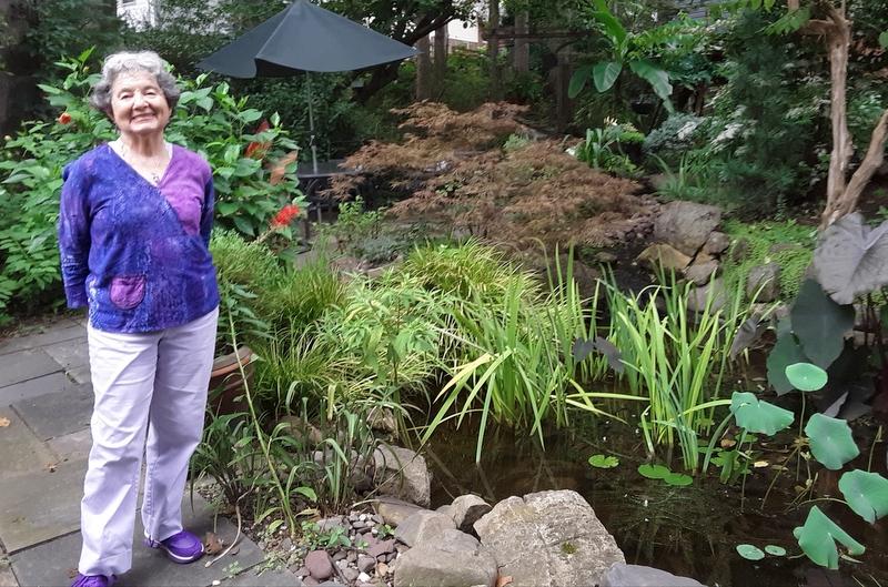 Sandra Lange in her Greenbelt garden.