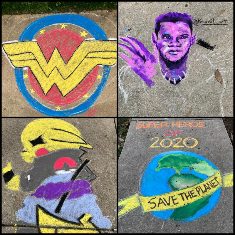 Chalk drawings of American heroes by ERHS students.