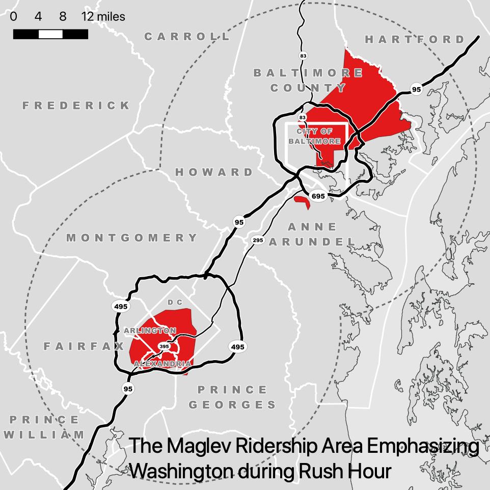 Figure 2. Maglev ridership area emphasizing Washington during rush hour