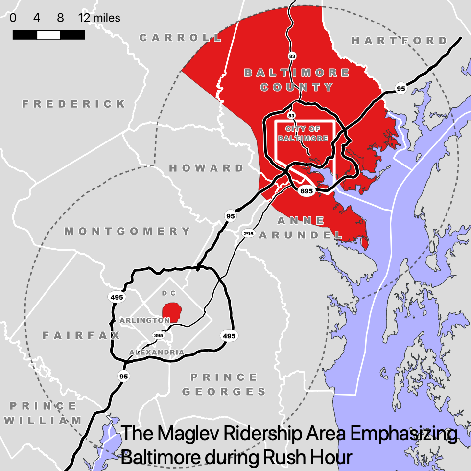 Figure 3. The maglev ridership area emphasizing Baltimore during rush hour