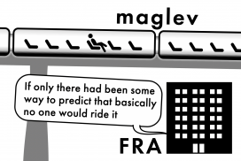 A cartoon depicting the question: Is the maglev ridership forecast accurate?